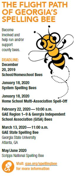 Spelling Bee List 2020.Gae State Spelling Bee Georgia Association Of Educators
